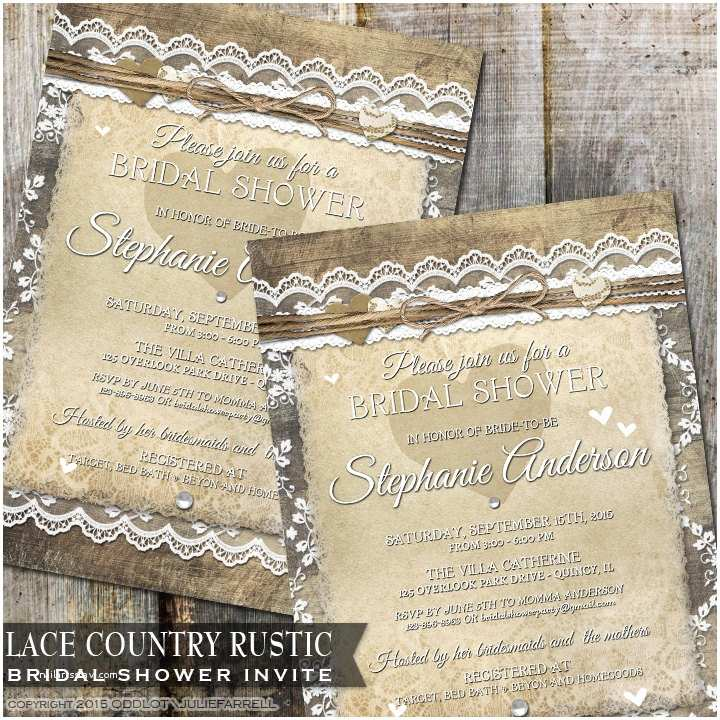 Rustic Wedding Shower Invitations Rustic Bridal Shower Invitation Country Wedding Shower