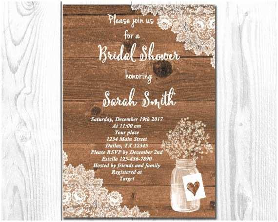 Rustic Wedding Shower Invitations Rustic Bridal Shower Invitation Mason Jar Invitation Wood