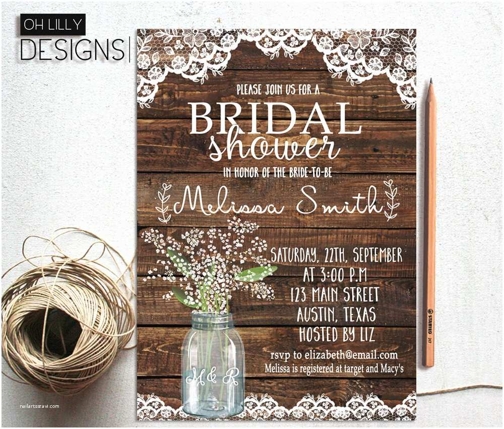 Rustic Wedding Shower Invitations Rustic Bridal Shower Invitation Printable Baby S Breath