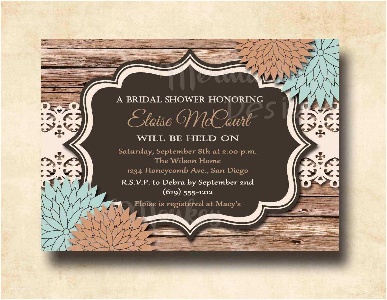 Rustic Wedding Shower Invitations Rustic Bridal Shower Invitation Wedding by