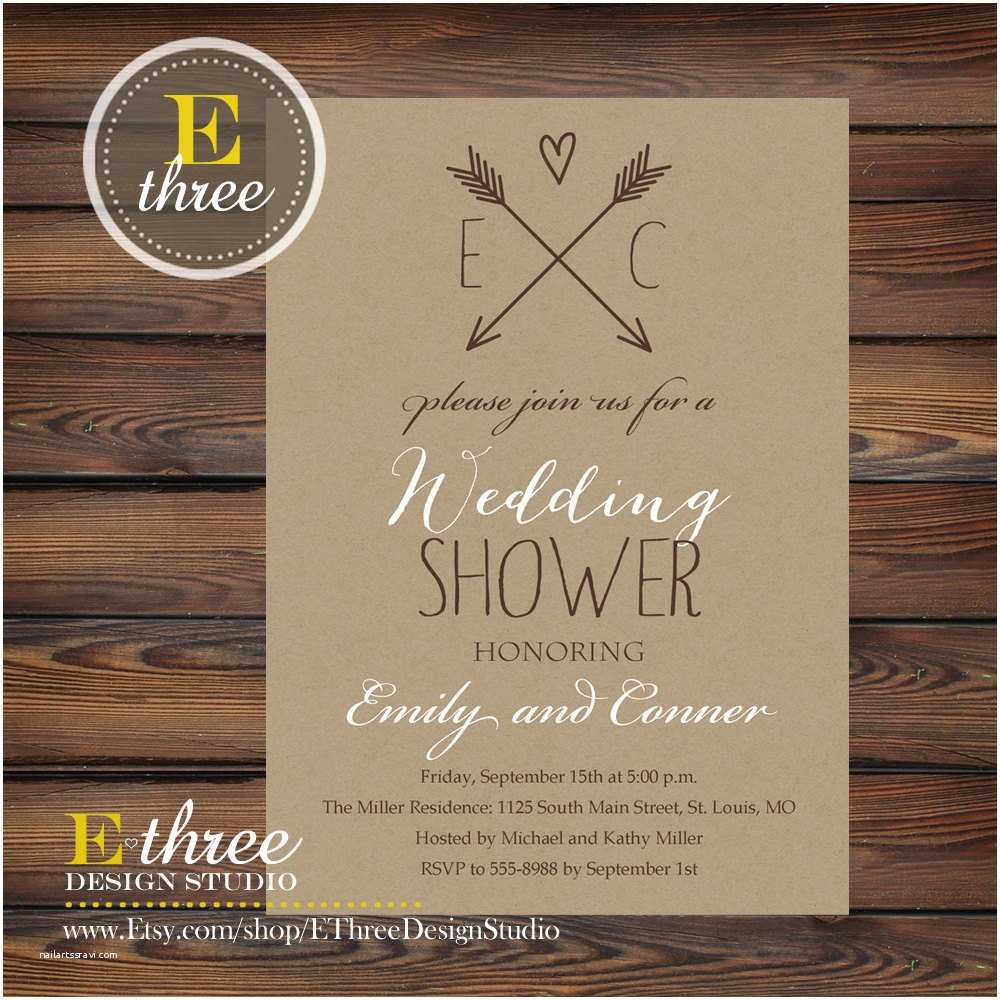 Rustic Wedding Shower Invitations Rustic Couples Wedding Shower Invitation Kraft Paper and