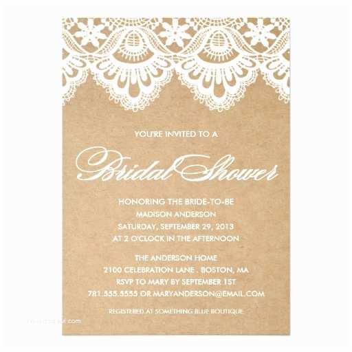 Rustic Wedding Shower Invitations Rustic Lace Bridal Shower Invitation