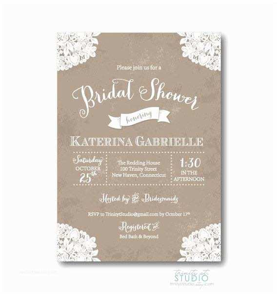 Rustic Wedding Shower Invitations Vintage Lace Rustic Bridal Shower Invitation Shabby Chic