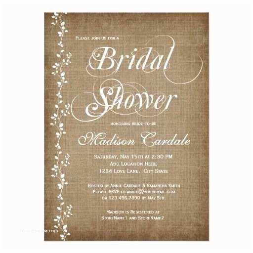 Rustic Wedding Shower Invitations Vintage Vines Rustic Bridal Shower Invitations