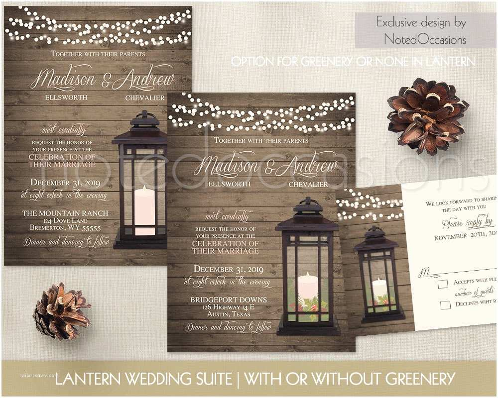 Rustic Winter Wedding Invitations Lantern Wedding Invitations Rustic Winter Wedding Invitation