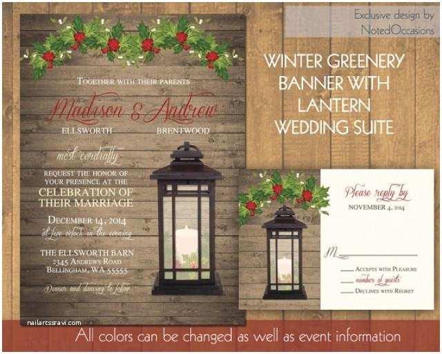 Rustic Winter Wedding Invitations Lantern Wedding Invitations Set Rustic Winter Wedding