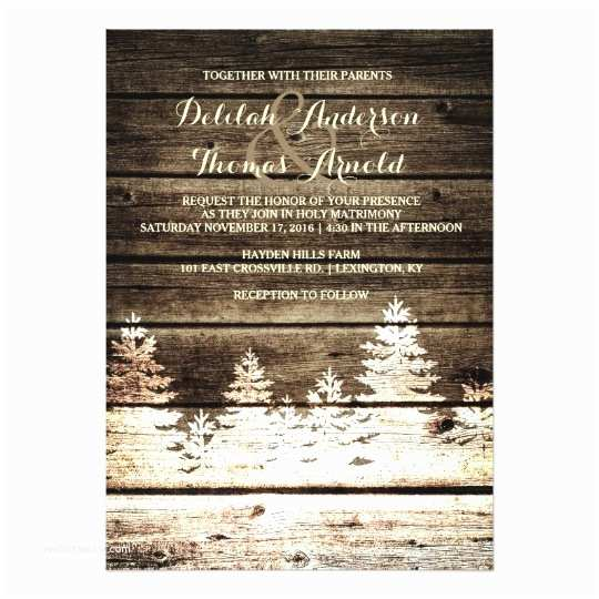 Rustic Winter Wedding Invitations Rustic Barn Wood Pine Trees Winter Wedding Invite