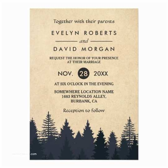 Rustic Winter Wedding Invitations Rustic Pine Trees Kraft Winter Wedding Invitation