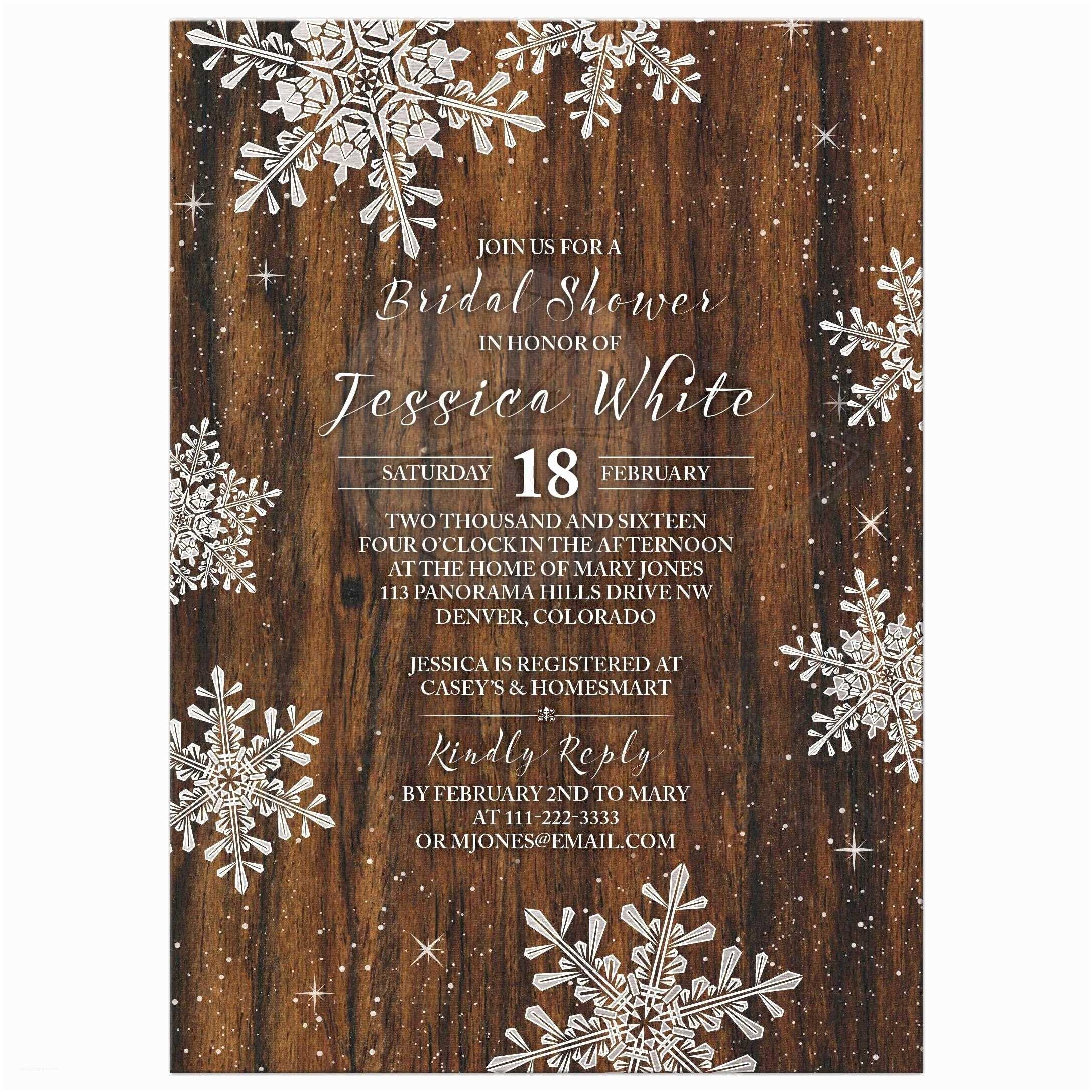 Rustic Winter Wedding Invitations Rustic Snowflake Bridal Shower Invitation