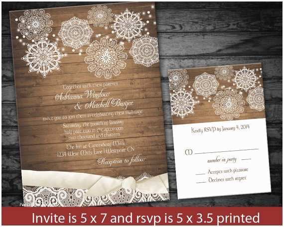 Rustic Winter Wedding Invitations Rustic Snowflake Winter Wedding Invitations Lace
