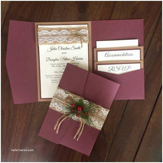 Rustic Winter Wedding Invitations Rustic Vintage Winter Christmas Wedding Invitation Suite