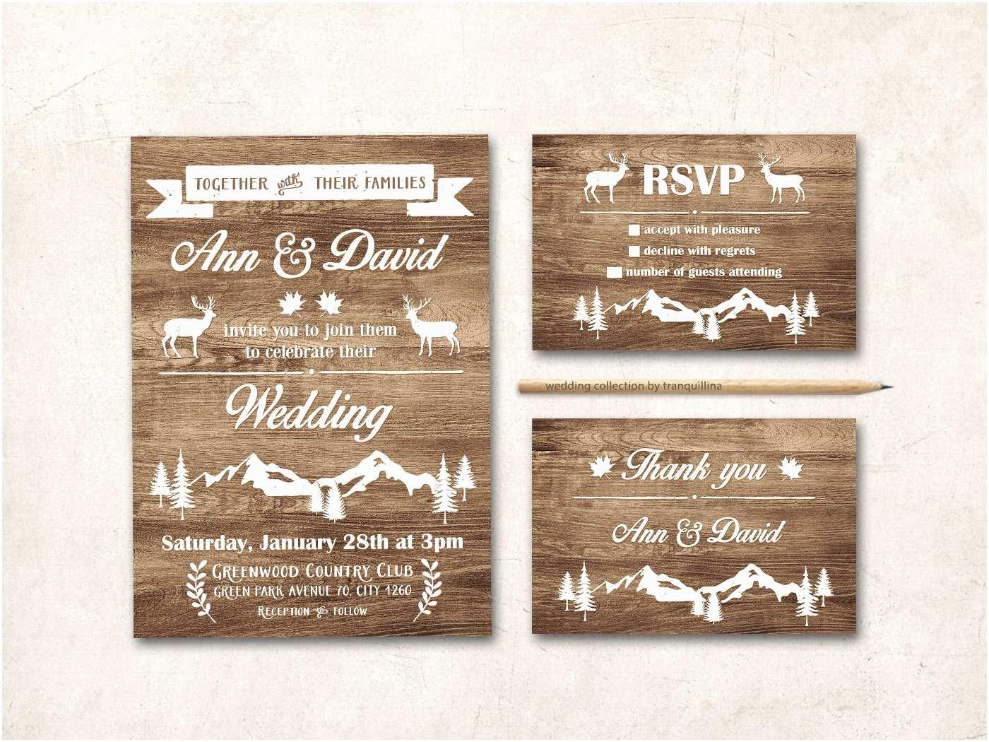 Rustic Winter Wedding Invitations Rustic Wedding Invitation Printable Fall Winter Wedding