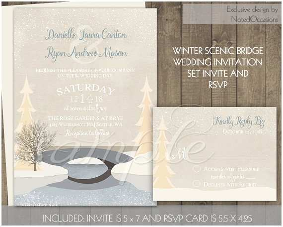 Rustic Winter Wedding Invitations Rustic Winter Wedding Invitation Set Printable by