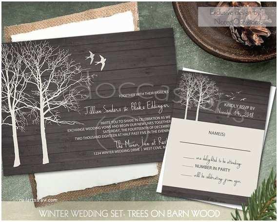 Rustic Winter Wedding Invitations Rustic Winter Wedding Invitation Set Printable by