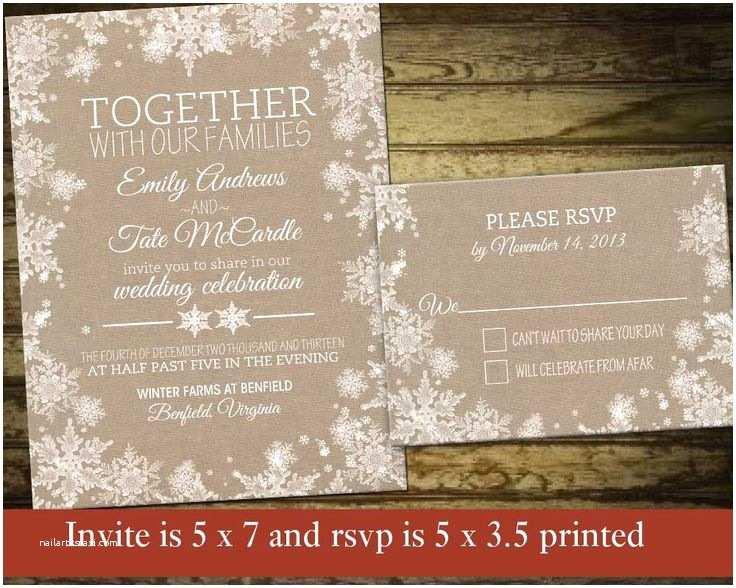 Rustic Winter Wedding Invitations Rustic Winter Wedding Invitation Set Printable Snowflake