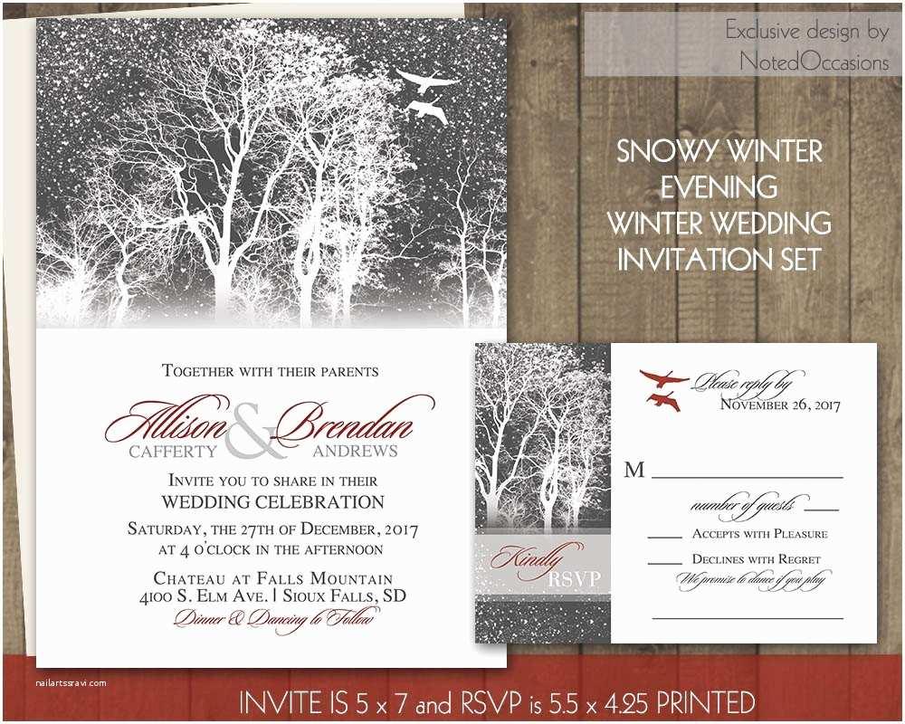 Rustic Winter Wedding Invitations Rustic Winter Wedding Invitation Tree Wedding by
