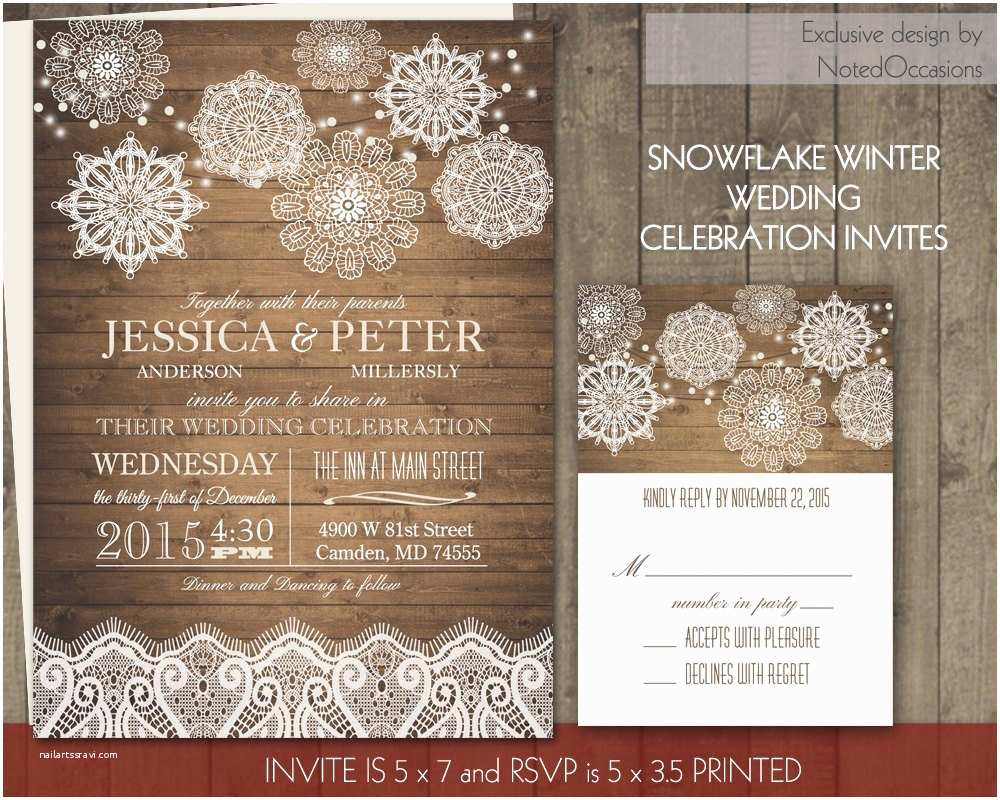 Rustic Winter Wedding Invitations Rustic Winter Wedding Invitations Set Lace by Notedoccasions