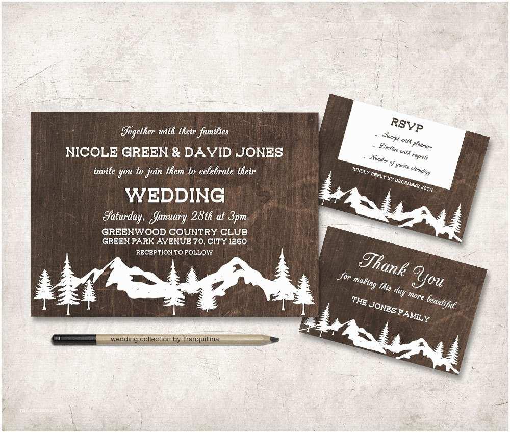 Rustic Winter Wedding Invitations Winter Wedding Invitation Printable Rustic Wedding