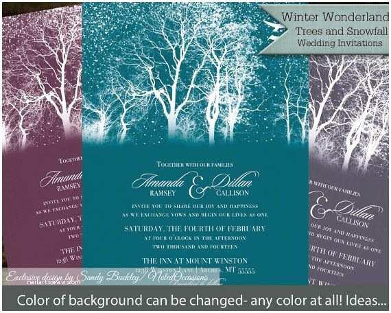 Rustic Winter Wedding Invitations Winter Wedding Invitation Trees Snowflakes Printable