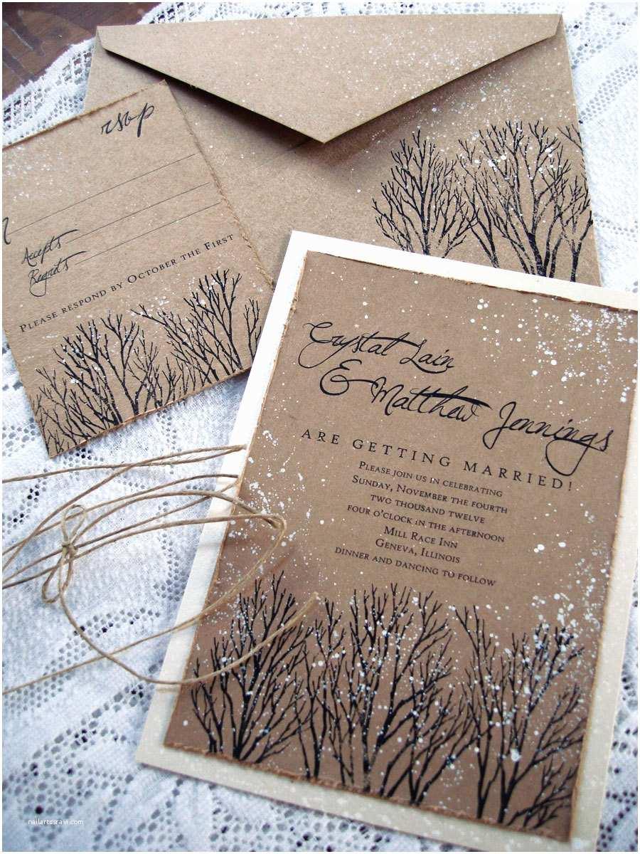 Rustic Winter Wedding Invitations Winter Wedding Invitations Rustic Wedding Invitations Tree