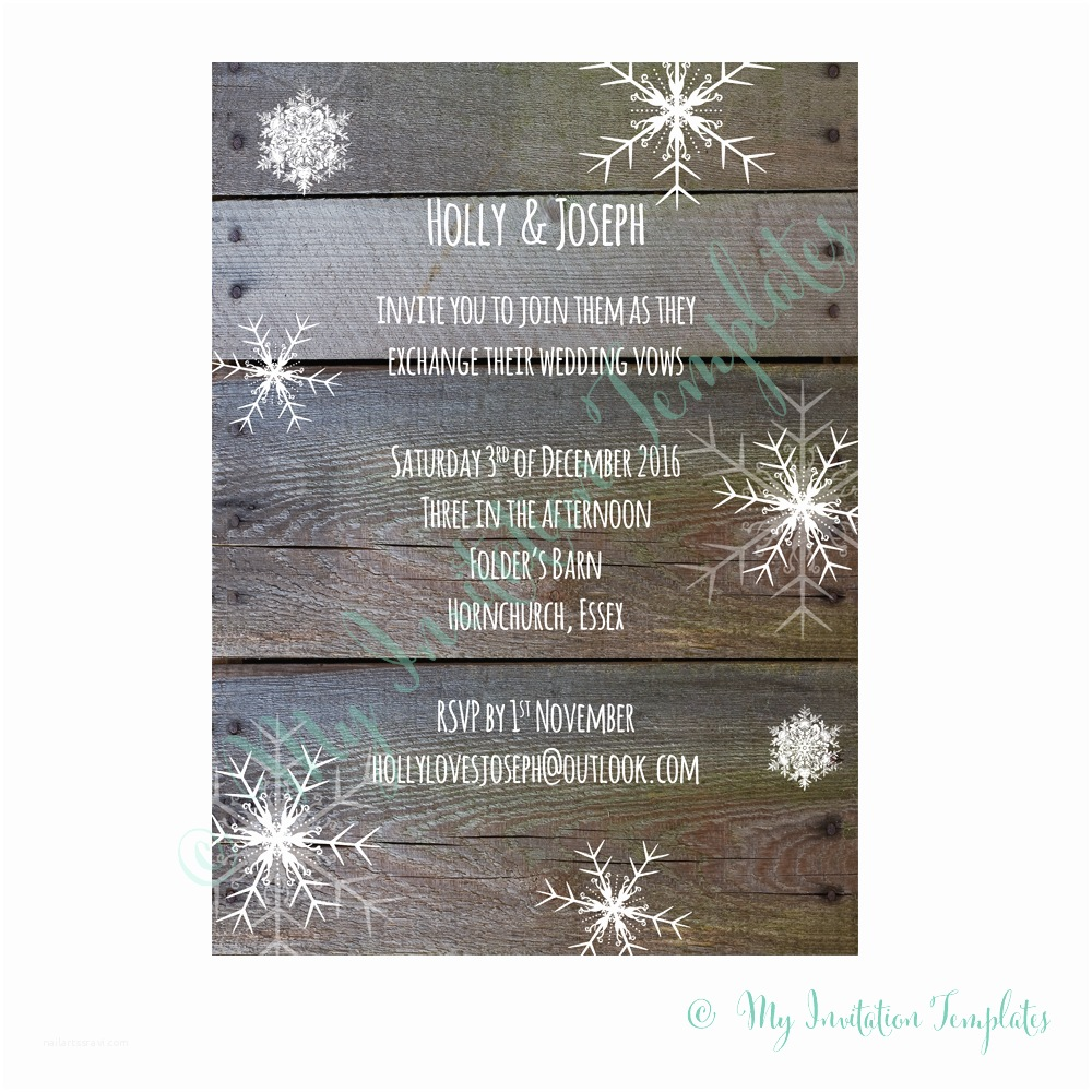 Rustic Winter Wedding Invitations Winter Wedding Invitations Template Rustic Snowflake Invite