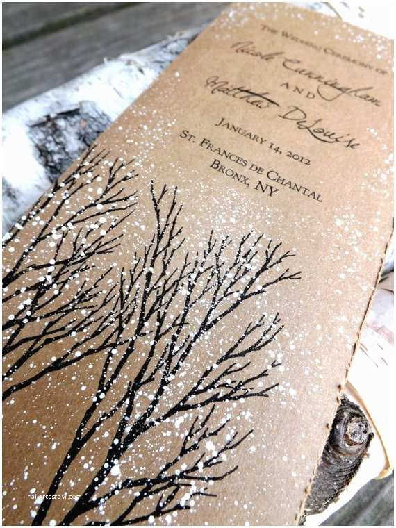 Rustic Winter Wedding Invitations Winter Wedding Program Rustic Winter Tree and by