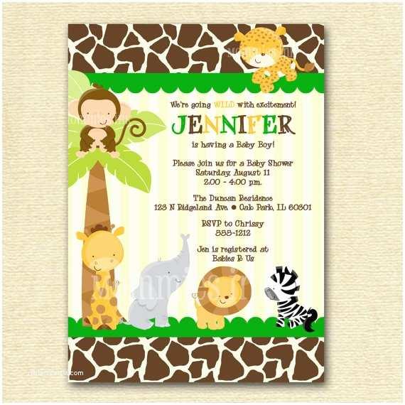 Safari Baby Shower Invitations 7 Best Of Baby Jungle Stationary Free Printable
