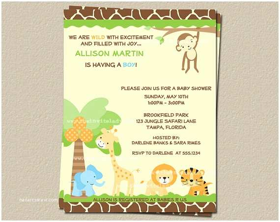 Safari Baby Shower Invitations 8 Best Of Jungle theme Invitations Free Printable