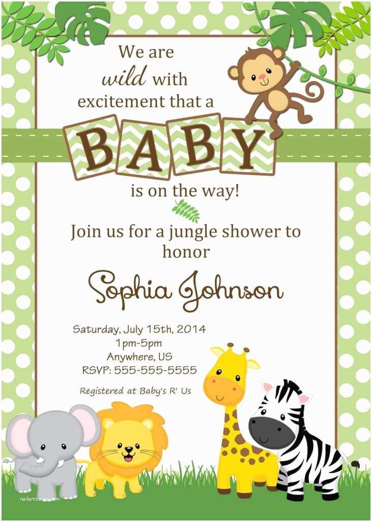 Safari Baby Shower Invitations Baby Shower Jungle theme Invitations