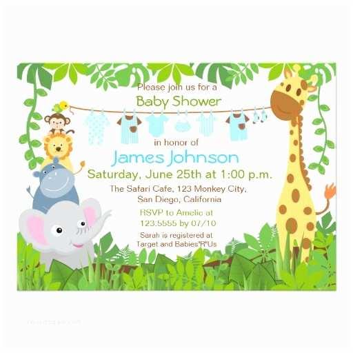 Safari Baby Shower Invitations Jungle Animals Safari Boy Baby Shower Invitation