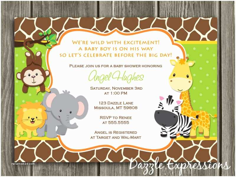 Safari Baby Shower Invitations Jungle Baby Shower Invitation Giraffe Printable