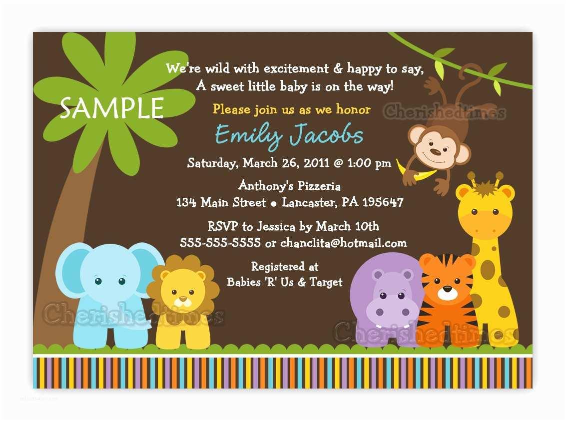 Safari Baby Shower Invitations Jungle Safari Wild Animals Baby Shower Invitation You Print