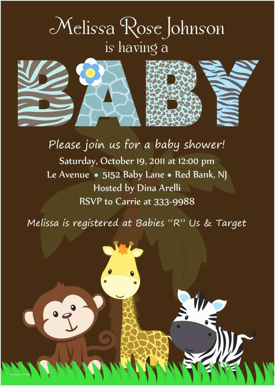 Safari Baby Shower Invitations Personalized Animal Safari Jungle Baby Shower by theprintfairy