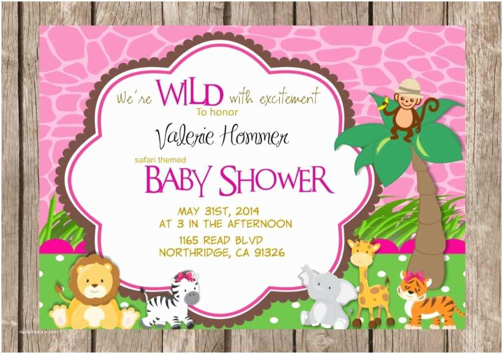 Safari Baby Shower Invitations Pink Safari Baby Shower Invitations