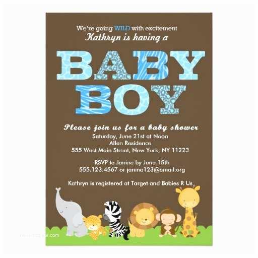 "Safari Baby Shower Invitations Safari Baby Boy Shower Invitation 5"" X 7"" Invitation Card"