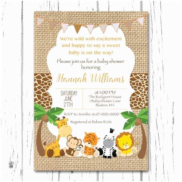 safari baby shower invitation burlap