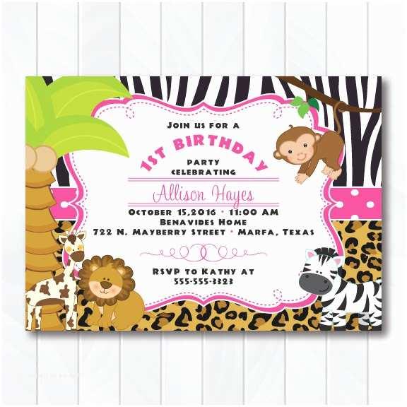 Safari Birthday Invitations Girl Jungle Safari Birthday Invitations Pink Safari Baby