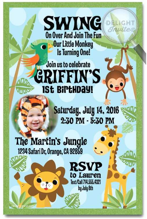 Safari Birthday Invitations Jungle Party Invitation Themed