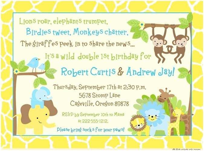 Safari Birthday Invitations Jungle Safari Twin Birthday Invitation Double Fun Monkeys