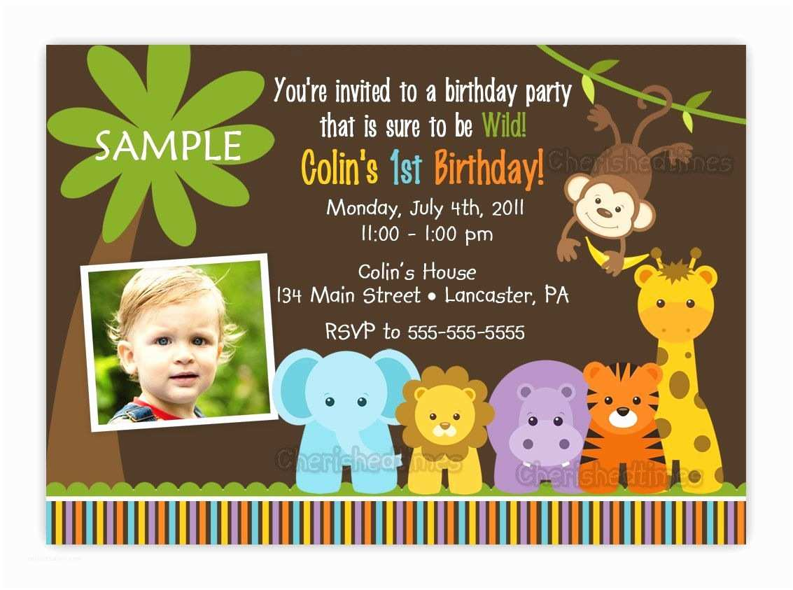 Safari Birthday Invitations Jungle themed 1st Birthday Party Invitations