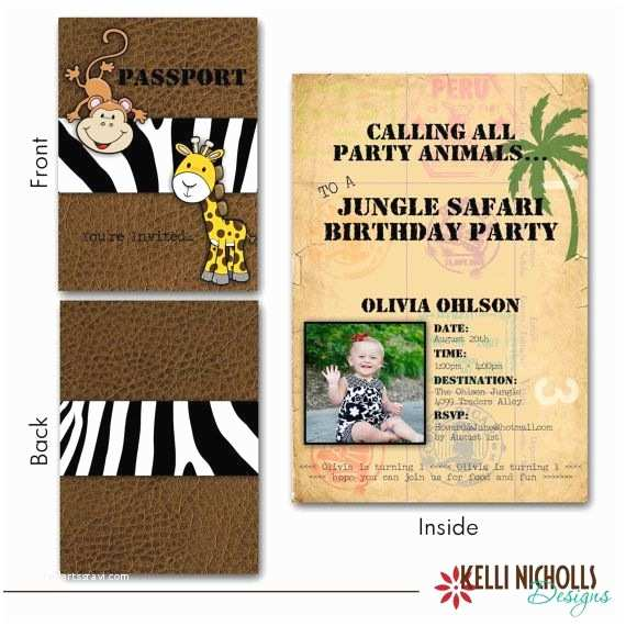 Safari Birthday Invitations Printable Jungle Safari Passport Birthday Party Invitation