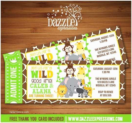 Safari Birthday Invitations Printable Twins Jungle Ticket Birthday Invitation Double