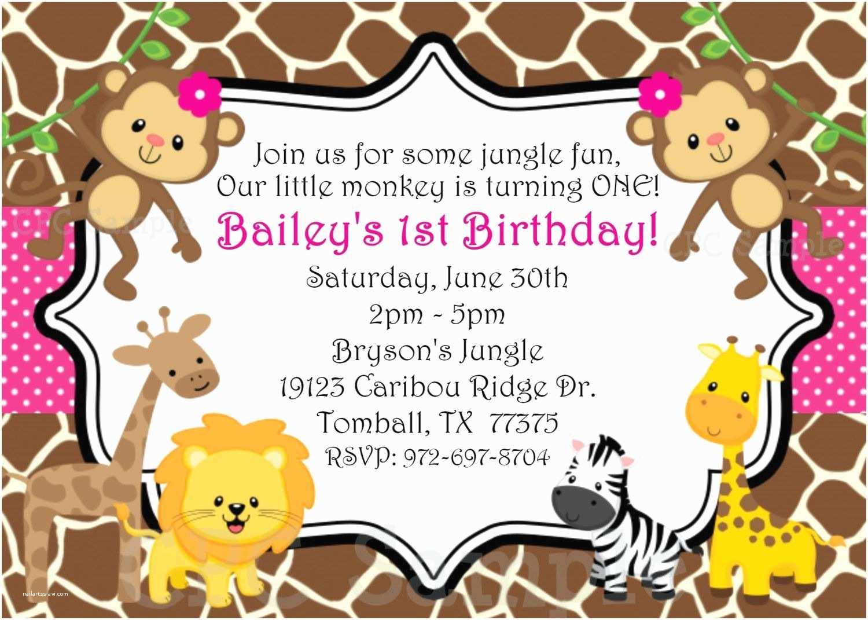 Safari Birthday Invitations Safari themed First Birthday Invitation Wording