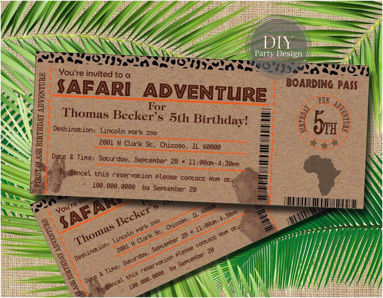 Safari Birthday Invitations Safari Ticket Birthday Invitation Baby Shower Invitation