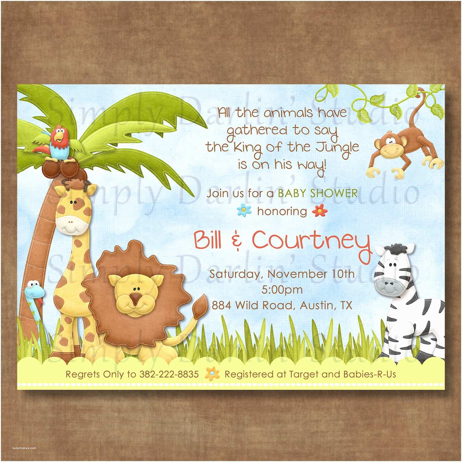 Safari theme Baby Shower Invitations Create Easy Jungle theme Baby Shower Invitations Designs