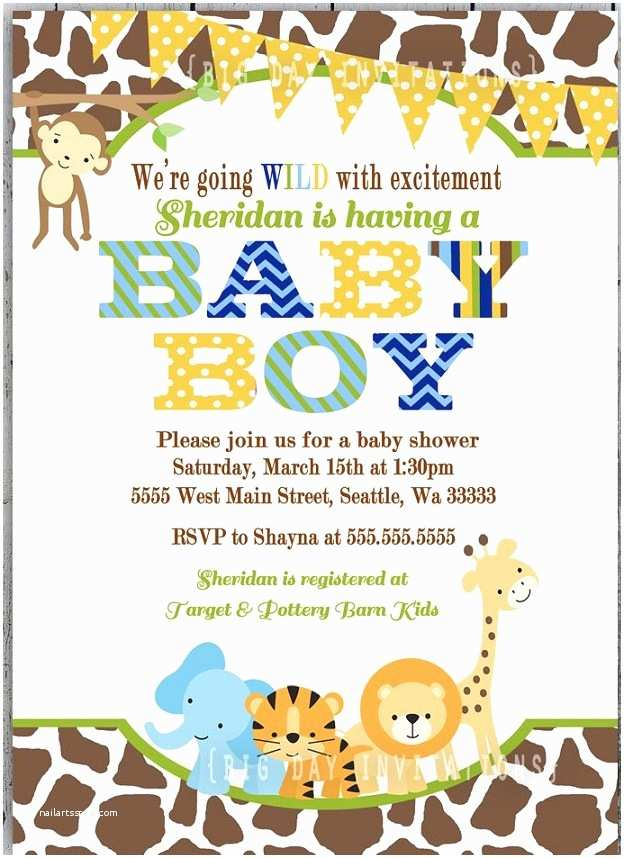Safari theme Baby Shower Invitations It S A Wild Time with A Boys Safari Baby Shower B