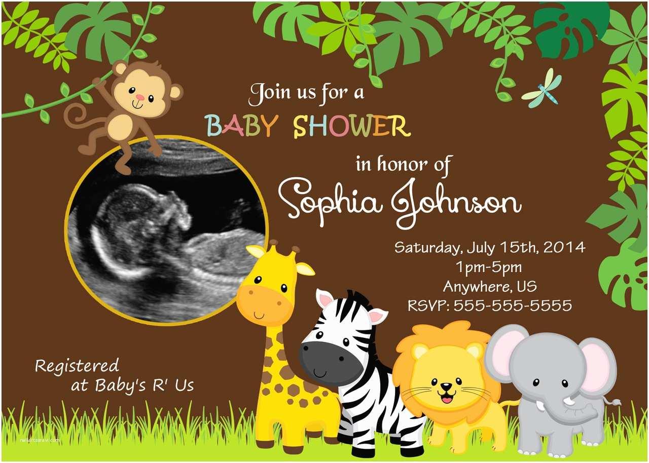 Safari theme Baby Shower Invitations Jungle themed Baby Shower Invitations