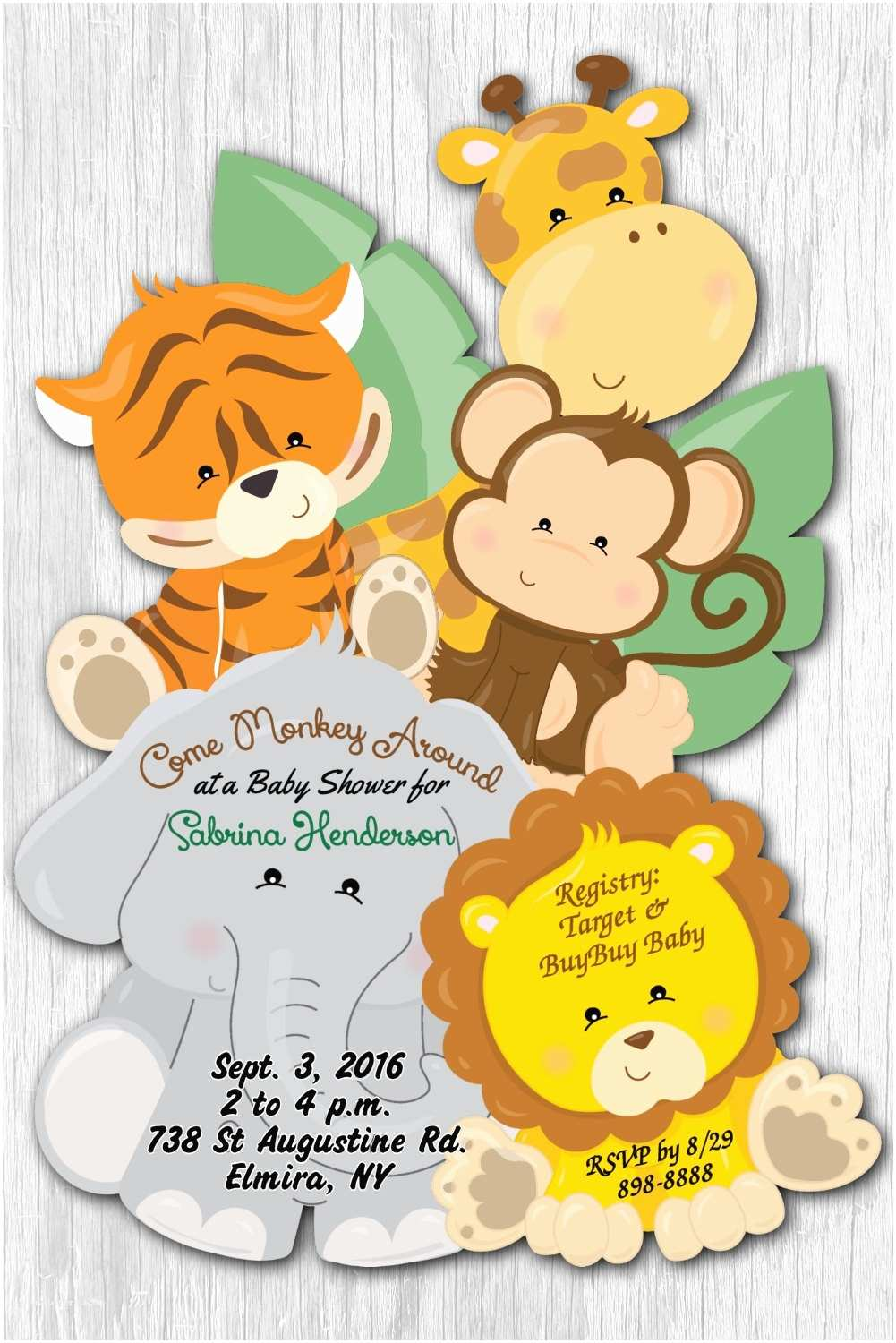Safari theme Baby Shower Invitations Safari Baby Shower Invitations Jungle Baby Shower Invitation