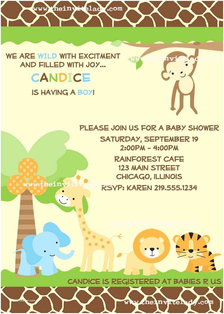 Safari theme Baby Shower Invitations Template Safari Baby Shower Invitations Wording Safari