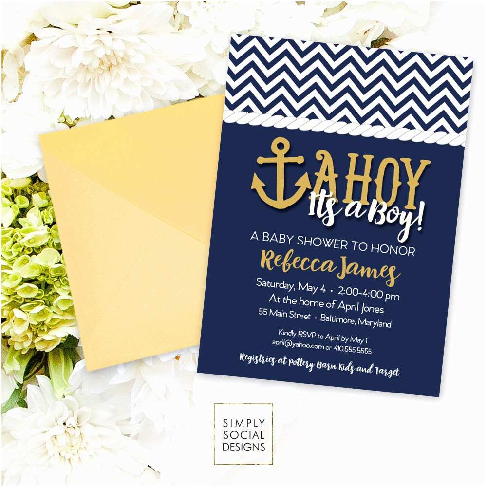 Sailor Baby Shower Invitations Ahoy It S A Boy Baby Shower Invitation Printable Nautical